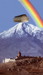 Noah's Ark Resting on top of Mt. Ararat. A note to the naive and gullible: this image was photoshopped.