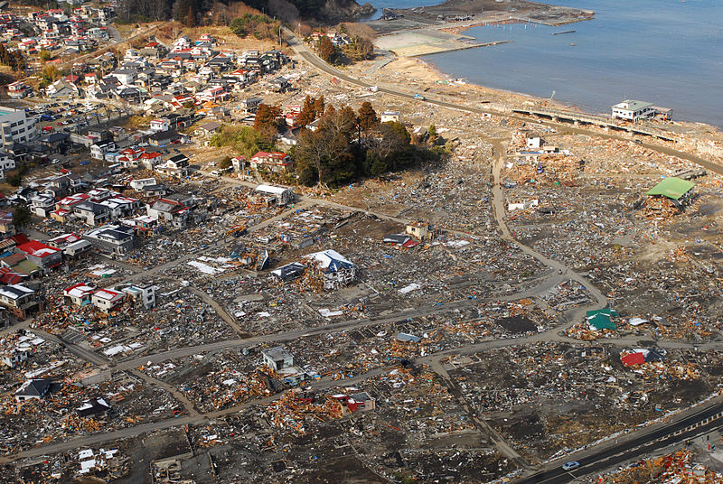 Ōtsuchi, Iwate, Japan (March 18, 2011). An aerial view of damage to Ōtsuchi, Japan, a week after a 9.0 magnitude earthquake and subsequent tsunami devastated the area. (U.S. Navy photo by Mass Communication Specialist 3rd Class Dylan McCord/Released)
