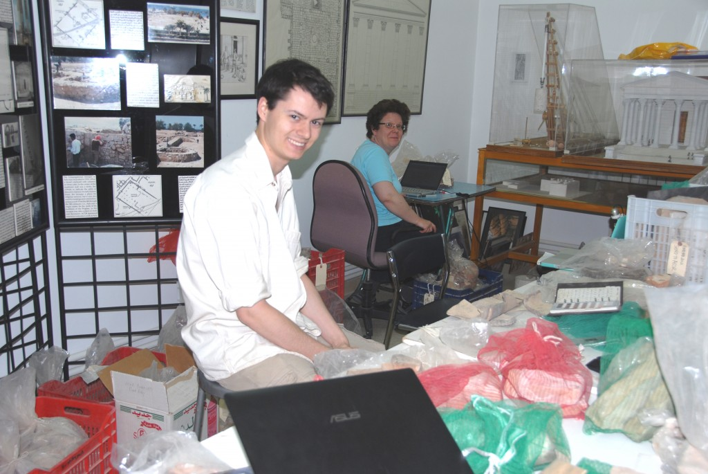 C. Harvey & B. Reeves cataloguing CBM in the ACOR basement
