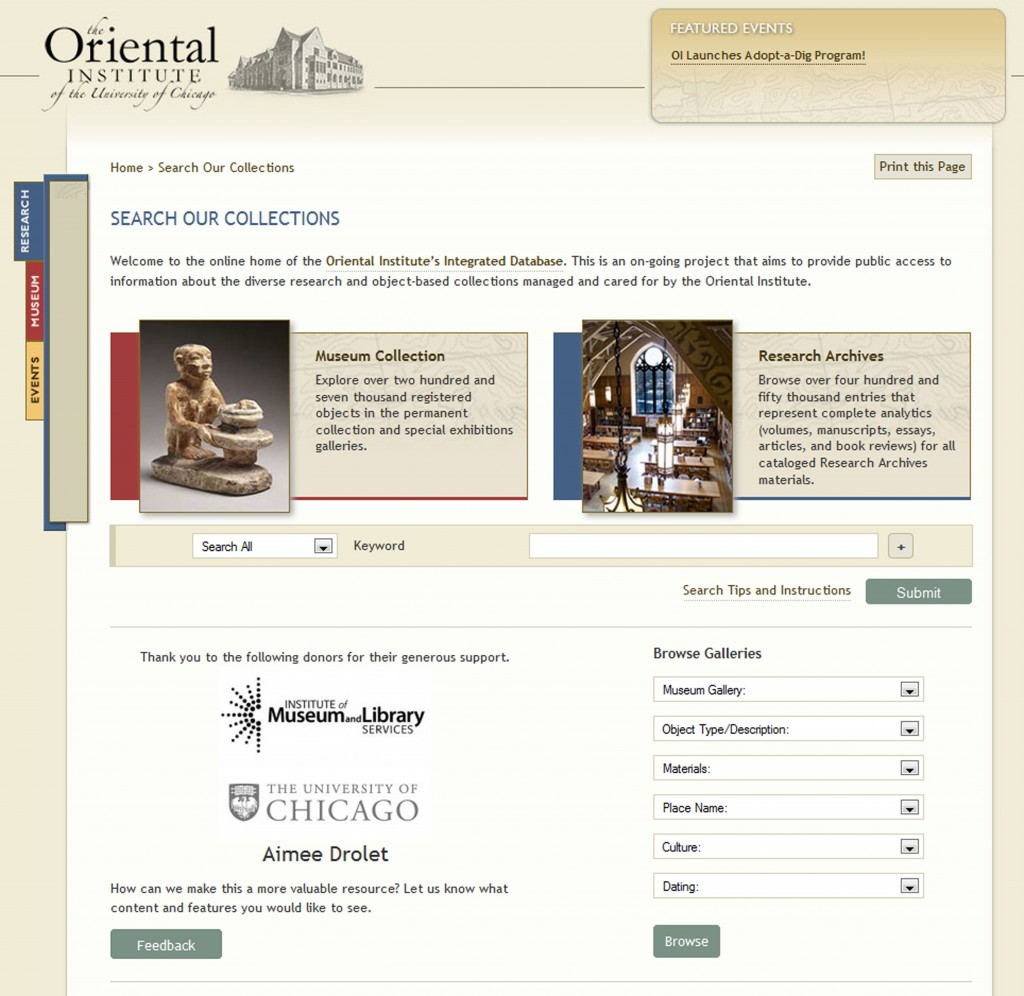 Fig. 3. Collections Search Page for the Oriental Institute Integrated Database