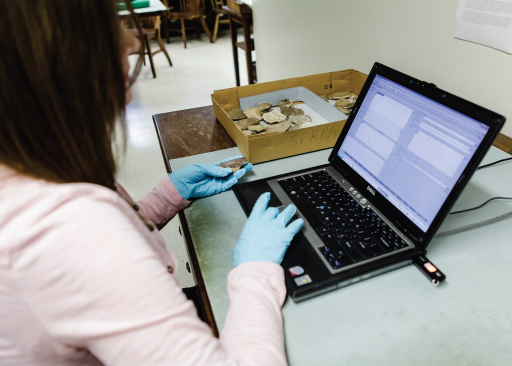 Fig. 5. Assistant Registrar Susan Allison enters data on recently registered objects from the Oriental Institute's collections directly into the new Integrated Database (photo by Anna Ressman).