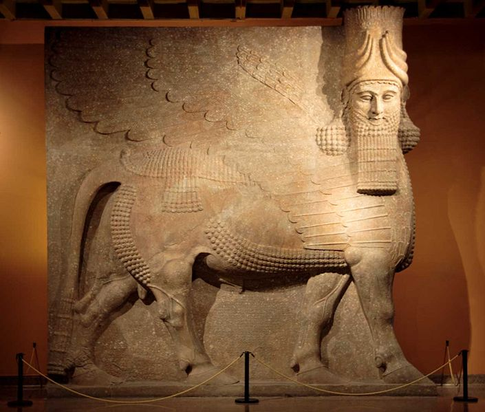 Fig. 6. Colossal lamassu relief sculpture (OIM A 7369) that originally guarded the entrance to the throne room at Khorsabad in the late 8th century BCE – at over 16 feet tall, it is currently the largest object in the Oriental Institute's integrated database (photo by Tom James).
