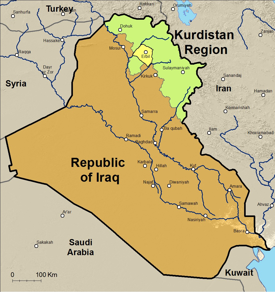 republic of iraq with kurdistan region of iraq green and the