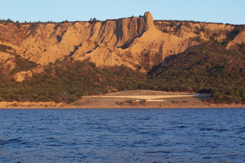 "The rock outcrop called ""The Sphinx"" overlooking North Beach showing the terrain Anzac forces encountered. Courtesy Sarah Midford and Jessie Birkett-Rees."