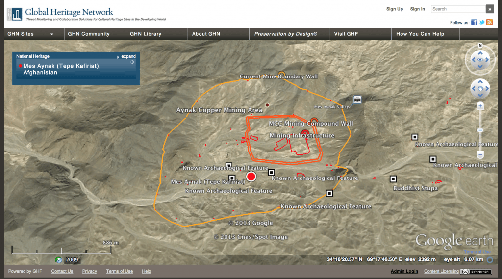 Good Earth image of Mes Aynak showing location of remains.