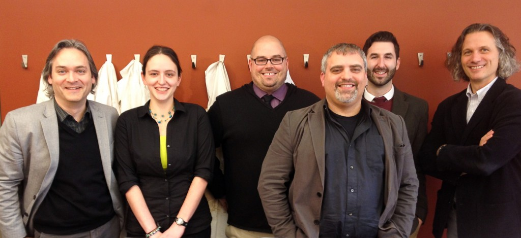 Staff and students at the inaugural CRANE Workshop, Toronto, Canada; March 22, 2013 (left-to-right: Kevin Fisher, Dominique Langis-Barsetti, Steven Edwards, Stephen Batiuk, Darren Joblonkay, Miller Prosser)