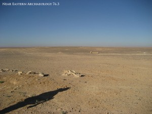 "Figure 7. Visibility: the Epipalaeolithic ""mega-site"" Kharaneh IV is visible only as a slight rise and a darker shade in the sun, due to the density of lithics."