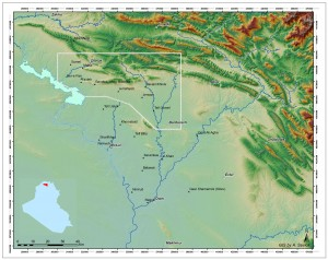 Fig. 1. Location of the Land of Nineveh Regional Project (LoNRP) survey area in Northern Iraq and the core territory of the Assyrian Empire with major sites.