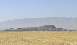 Fig. 6. View of Tell Gomel, the possible site of the Assyrian city of Gammagara, and the surrounding plain where the Gaugamela battle was probably fought in 331 BC.