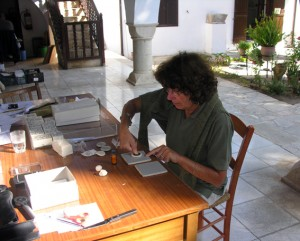 Dr. Anne Destrooper-Georgiades at work in the Kourion House Museum in Episkopi.