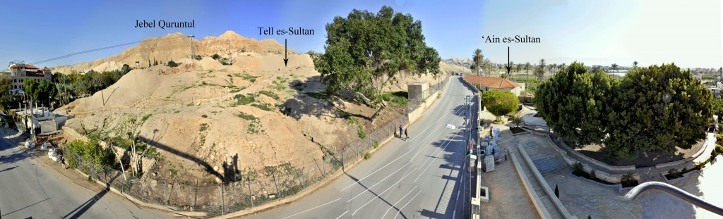 View of the site of Tell es-Sultan/ancient Jericho, cut off to the east by the modern road, and of the nearby Spring of 'Ain es-Sultan.