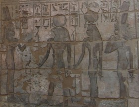 The God's Wife of Amen Shepenwepet II offering to the deified Amenirdis I, Medinet Habu, Dynasty 25