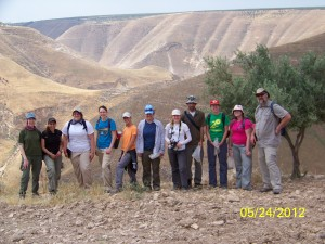 Northern Jordan Project 2012 survey - Wadi Shellelah Missouri State University. Dr. Walker on far left.
