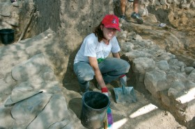 Valerie Schlegel at an excavation.