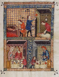 . Leaf from the John Rylands Haggadah, created in Spain in the mid-14th century, showing the preparation and celebration of the Passover seder.