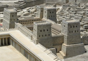 Model of the Antonia Fortress, part of the famous Holyland Hotel Model of Jerusalem, now displayed at the Israel Museum.