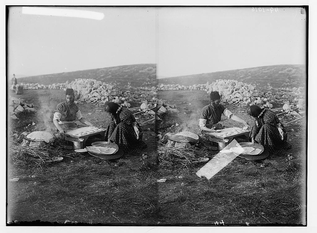Samaritans making matzot for Passover, ca. 1900-1920, Matson Collection, Library of Congress.