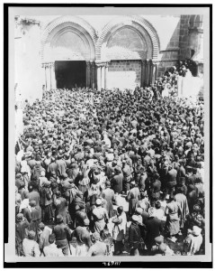 Crowd waiting for the holy fire to come down from Heaven, a miracle celebrated by the Greek Orthodox Church during Easter week, Jerusalem. Photograph taken between 1880 and 1900. Frank and Frances Carpenter Collection, Library of Congress.