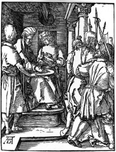 Albrecht Dürer, Small Passion: 20. Pilate Washing His Hands, 1511.