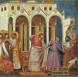 Giotto di Bondone, Expulsion of the Money-changers from the Temple, painted between 1304 and 1306.