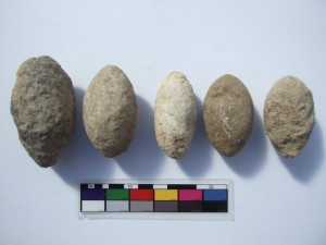 Sling stones from the Early Chalcolithic period, several areas.