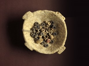 Stone bowl and beads from the Early Chalcolithic period, Area E.