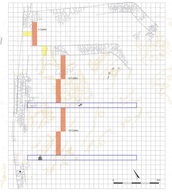 "Figure 11. Plan of building ""A"" overlaid with a grid of 52.5cm cubits. Yellow  highlights indicate two cubit thick walls and red highlights mark increments of five  cubits. Grey features are basalt slabs. Illustration by M. J. Adams."