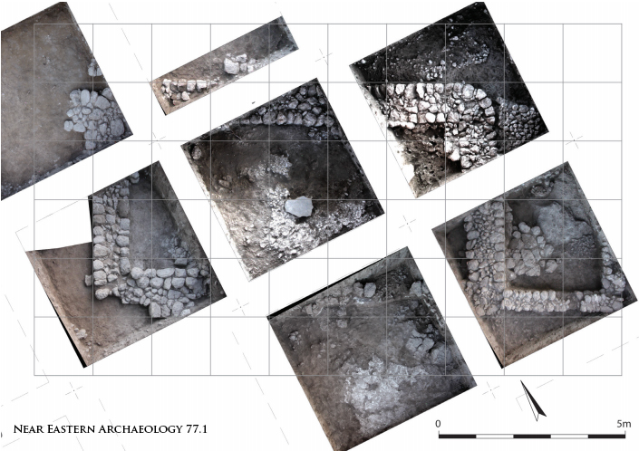 "Figure 12. Photogrammetric plan of building ""B"" with a grid of three cubit modules overlaid. Photogrammetry by M. J. Adams."