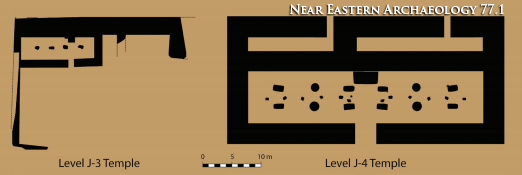 Figure 6. Comparative plans of the Megiddo Level J-3 (left) and Level J-4 (right) temples to scale. Illustrations by M. J. Adams.