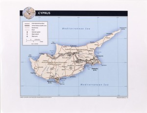 Political map of Cyprus.