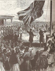 Hoisting the British flag at Nicosia on 12th July, 1878. Illustrated London News.