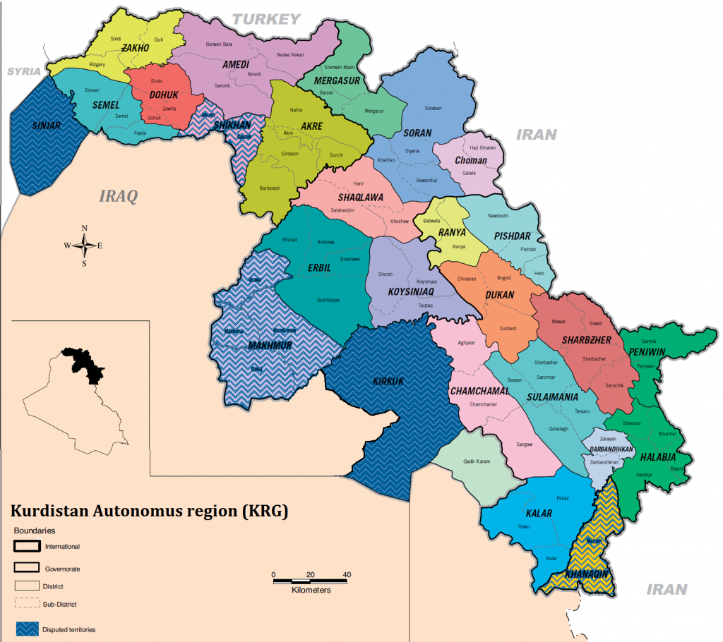 Map of Kurdish Regional Government