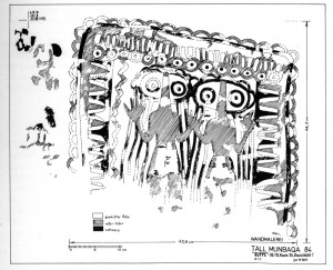 "Munbaqa (Syria): Wall painting (red and black) in non-domestic building dated EBA IVA = Akkadian period. Machule, D. et al. ""Ausgrabungen in Tall Munbaqa 1984,"" MDOG 118 (1986) pp. 79, 85ff, Abb. 10."