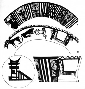 "Arpachiyah (Iraq). Halaf bowl from ritual burial G2, tholos area (late 6th mill. BC): (a) exterior (b) interior (c) base. I. Hijara, ""Three New Graves at Arpachiyah,"" World Archaeology 10/2 (1978) 125-128, Fig. 1."