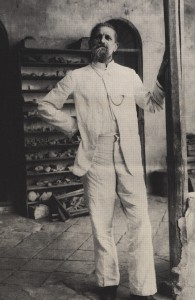 Robert Koldewey, German excavator of Babylon, in his storerooms at the site.