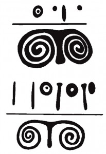 "Relief and impressed design on Kura-Araxes pots from Karaz (5a) and Badaani (5b). Sagona, C. and Sagona, A., ""The mushroom, the magi and the keen-sighted seers."" In G.R. Tsetskhladze (ed.), The Black Sea, Greece, Anatolia and Europe in the first millennium BC, pp. 387-436 (Paris-Leuven: Peeters, 2011), Figs. 11 and 10.1"