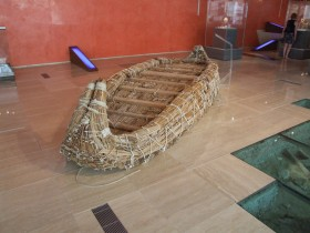 "Reconstruction of a reed boat used in experimental voyaging (""papyrella"") (Ayia Napa Museum, Cyprus)."