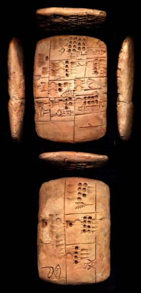 Archaic text from Uruk, MSVO 3, no. 1, now on permanent loan by the State of Berlin to the Vorderasiatisches Museum. http://cdli.ox.ac.uk/wiki/lib/exe/detail.php?id=the_late_uruk_period&media=images:lateuruk04.jpg