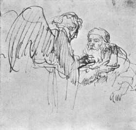 Rembrandt speaking with an angel. 1636-1637.