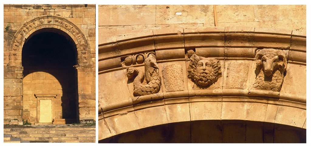 (Left) One of the arches of the great temple, decorated with busts of men, gods and animals. Photo courtesy of Erick Bonnier. (Right) Detail of one of the arches of the great iwans, with sun god in the centre. Photo courtesy of Erick Bonnier.