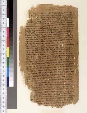 Figure 1. Part of the Chester Beatty papyri showing portions of the Book of Enoch in Greek (P.Mich.inv. 5552; third century C.E), University of Michigan Library) http://commons.wikimedia.org/wiki/File:P._Chester_Beatty_XII,_leaf_3,_verso.jpg