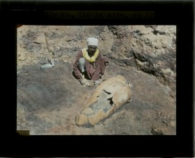 Tell en-Nasbeh collar rim jar during excavation. Photograph courtesy of A. Brody.