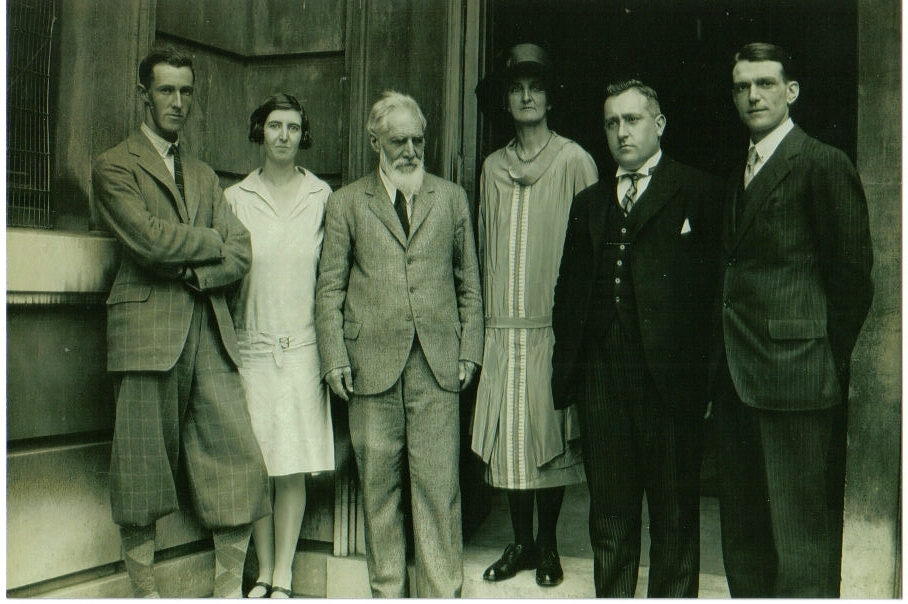 From left, G.L. Harding, Olga Tufnell, Sir Flinders and Hilda Petrie, J.L. Starkey, unidentified person.