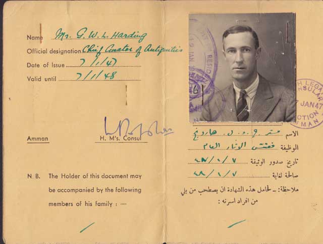 Harding's Transjordan identity card from the late 1940s, with his occupation listed as 'Chief Curator of Antiquities'. Courtesy of M.C.A. Macdonald.