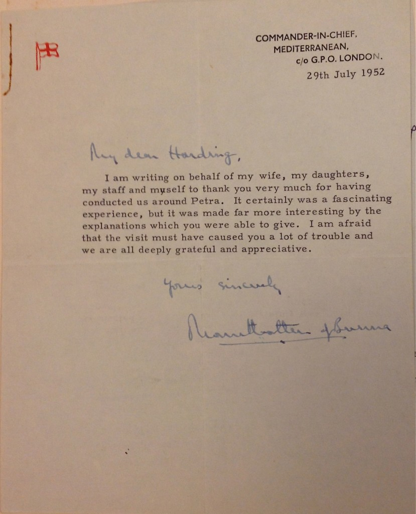 The Earl Mountbatten of Burma was the last Viceroy of India; after India's independence he became the Mediterranean Fleet's Commander-in-Chief.  This letter, dated July 1952, conveys Mountbatten's thanks to Harding for giving his family a tour of Petra. Copyright UCL Institute of Archaeology.
