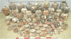 Part of the ceramic assemblage from the Assyrian destruction layer (after the fifth season). Photograph by Avraham Faust. All rights reserved by the Tel 'Eton Archaeological Expedition.