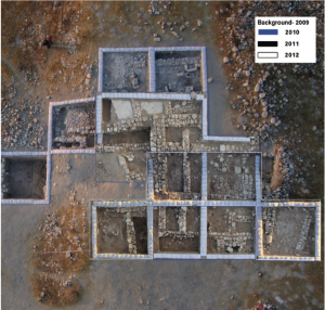 A composite aerial photograph showing the Iron Age IIB architectural remains in Area B (upper part).