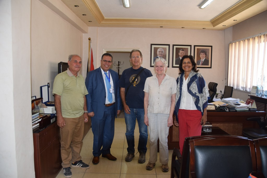 Mohammad Najjar, Dr. Monther Jamhawi, Tom Levy, Susan Ackerman, and Alina Levy at the Department of Antiquities of Jordan