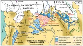 Map of prehistoric Lake Missoula
