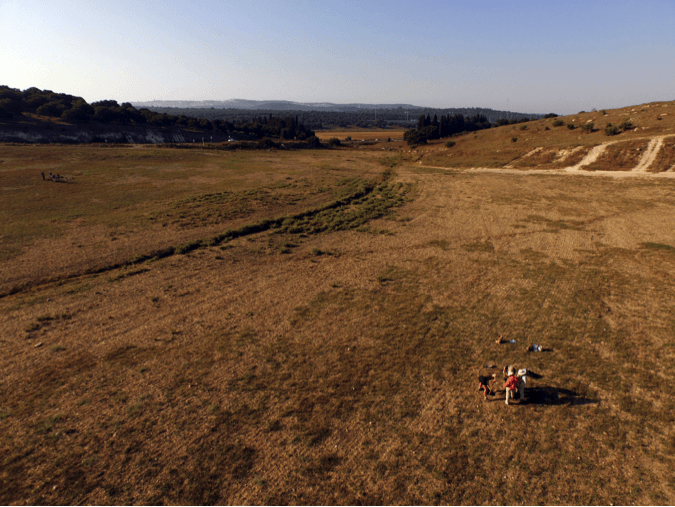 aerial view of a test pit during excavation, taken with our DJI Phantom 3, with another ongoing test pit in the background